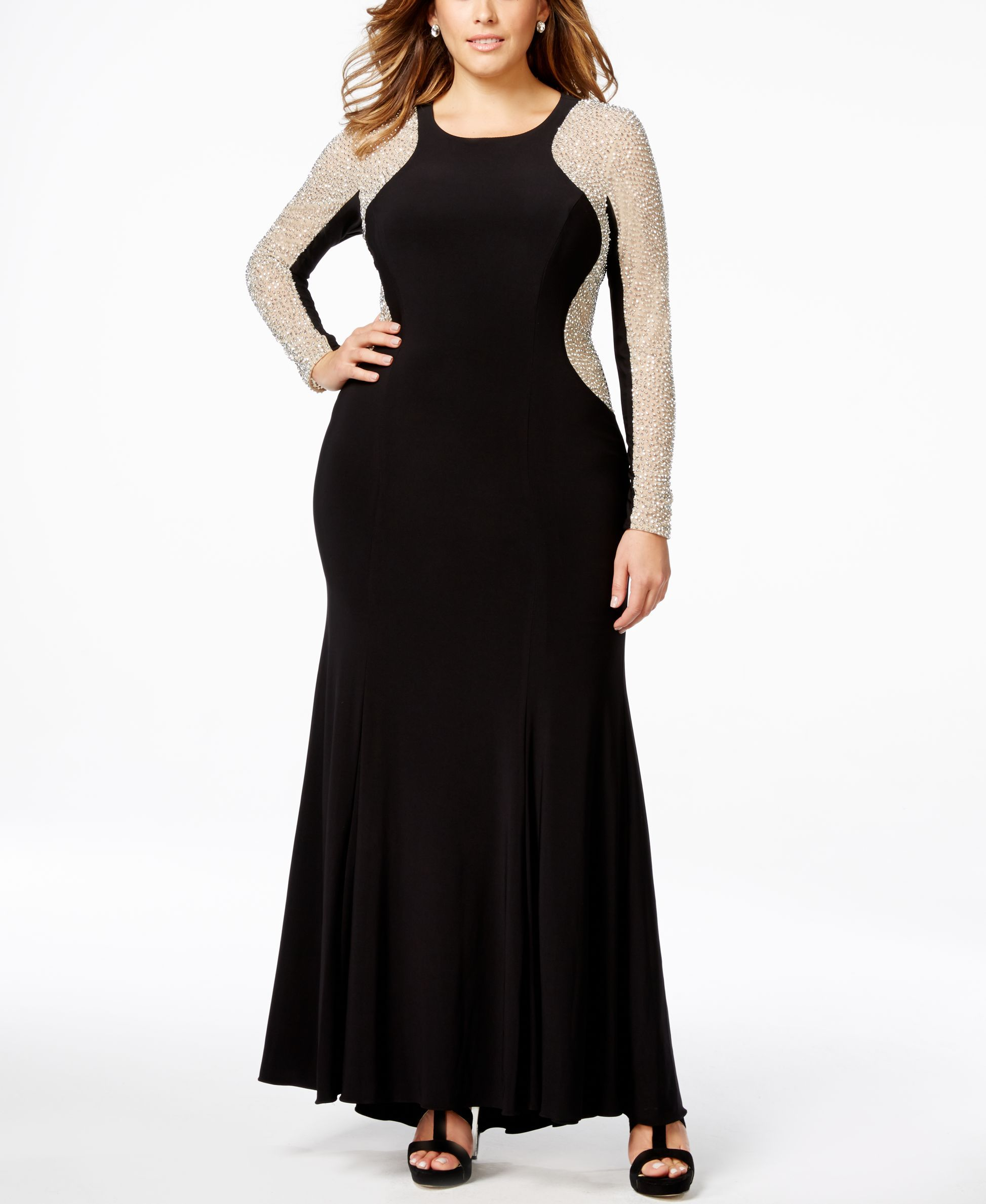 Plus size beaded illusion hourglass gown new clothes pinterest