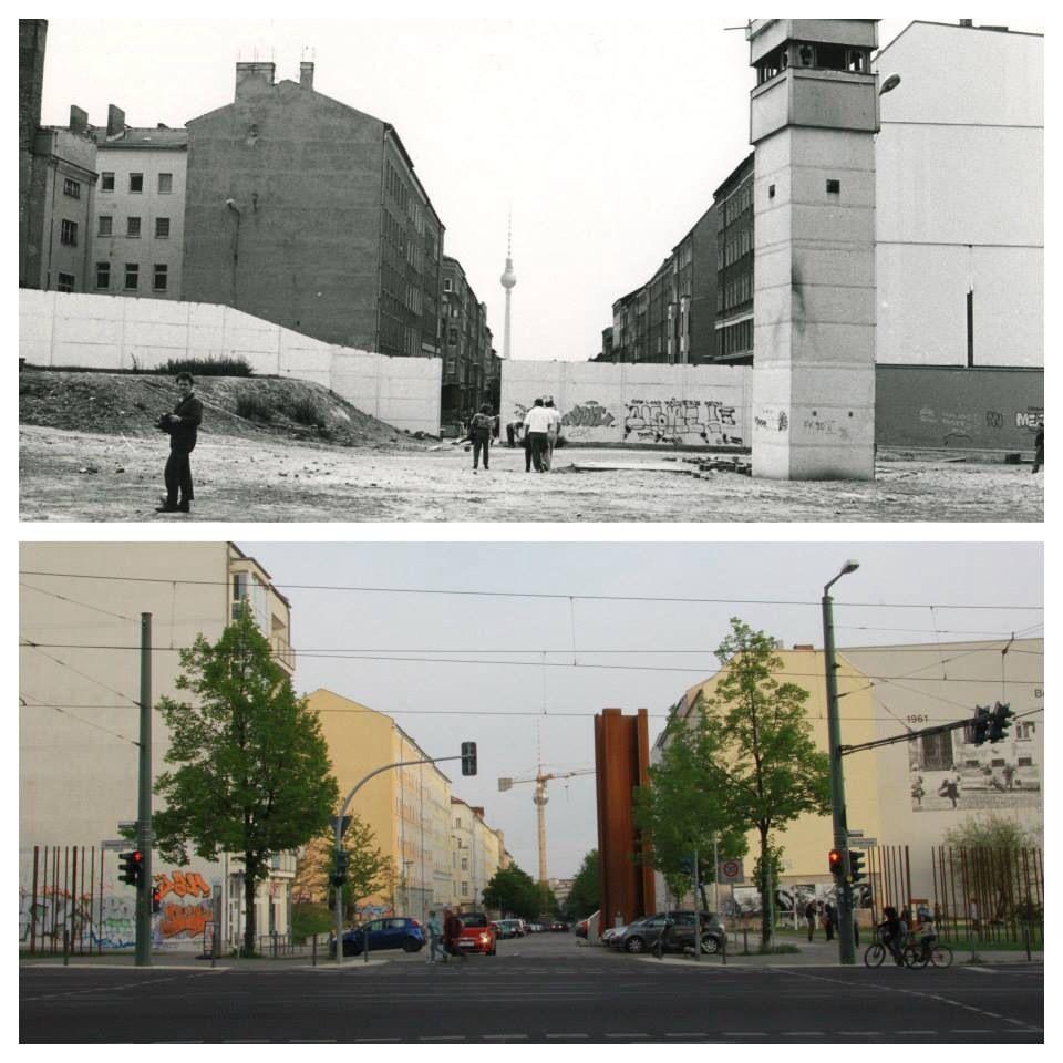 Bernauer Strasse Then Now Before And After The Wall Went Down In 1989 Berliner Mauer Berlin Geschichte Bilder
