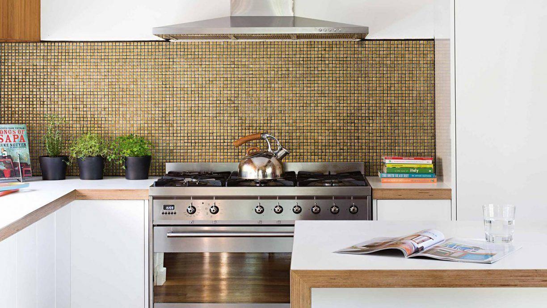 Large Backsplash Miniature Tiles Gold On Silver This Kitchen Backsplash Breaks All The Ru Modern Kitchen Splashbacks Modern Kitchen Tiles Kitchen Redesign