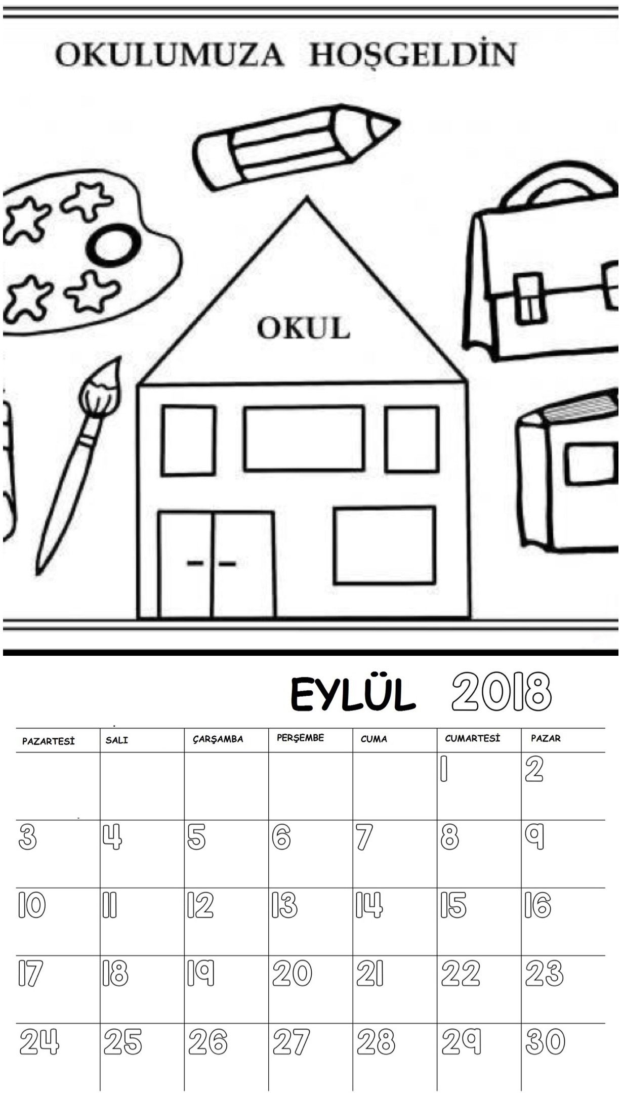 Okul öncesi 2018 Boyama Sayfalı Takvimi Okul öncesi Etkinlik