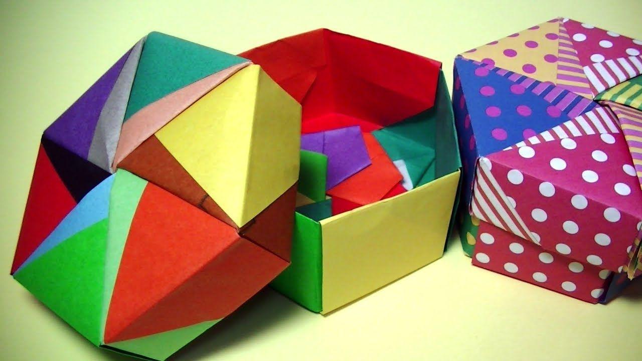おりがみorigami 6角形の箱とフタ 1 6枚ずつ計12枚で作れますmr Coin Channel종이접기 折り紙 箱 折り紙 折り紙の箱