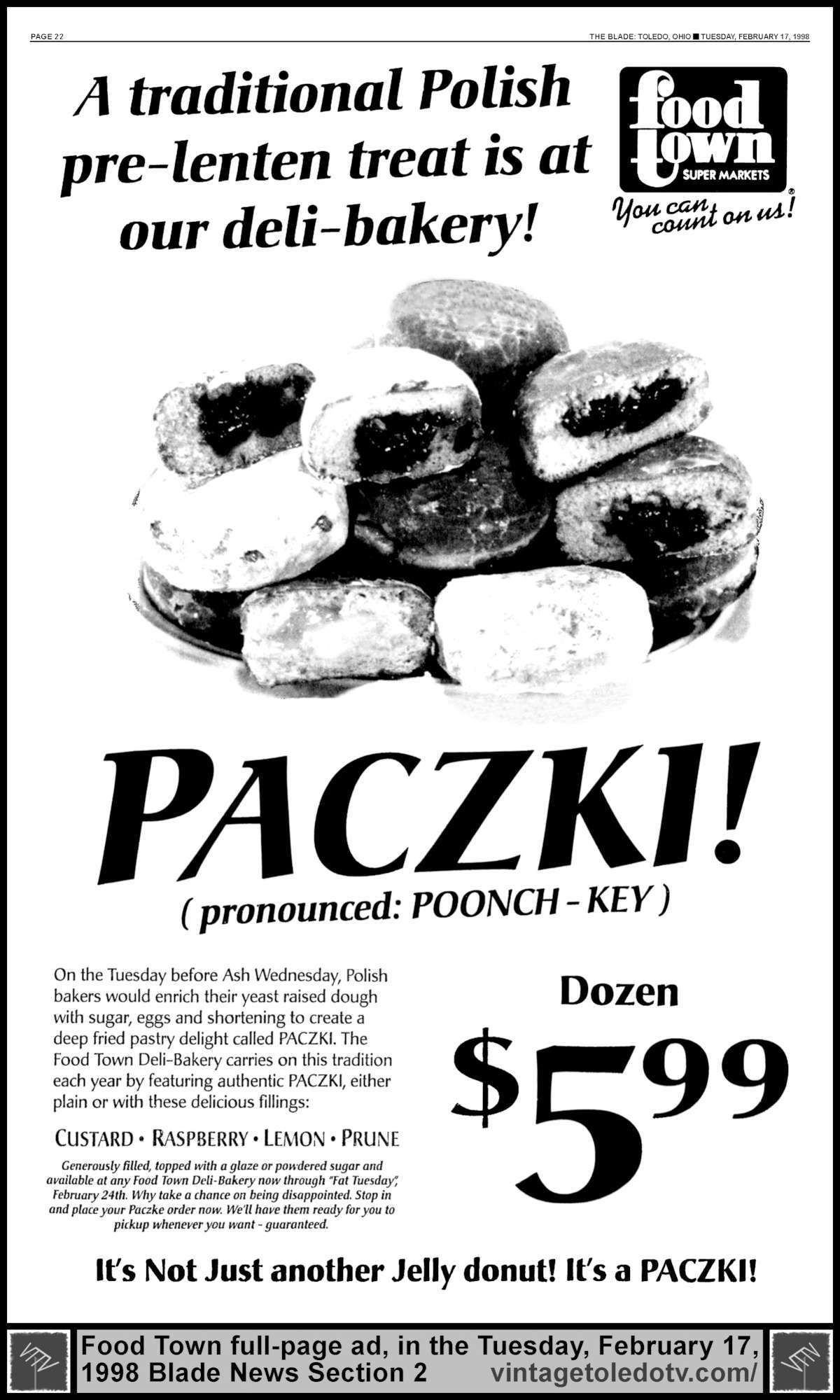 Vintage Toledo TV - Other Vintage Print Ads - Paczki! at Food Town (Tue  2/17/98 full-pafe Blade ad) A traditional Polish pre-lenten treat is at our  ...