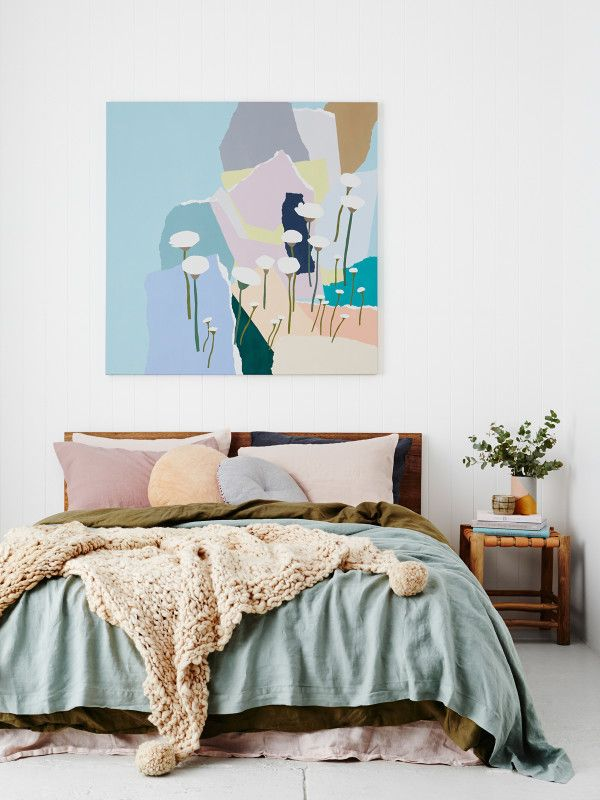Minimal bedroom styling with a hunt of pastel colors. Minimal bedroom styling with a hunt of pastel colors   Apartment