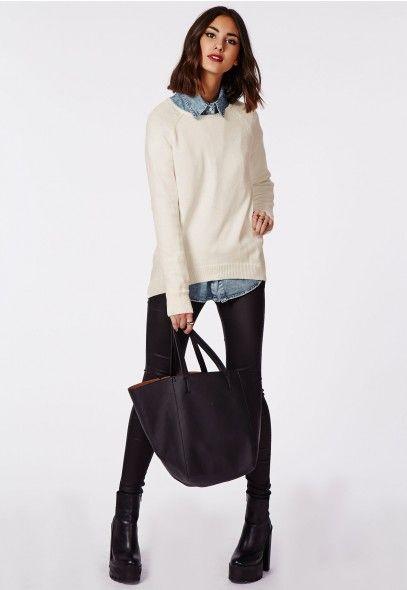 Pull ourlet arrondi et manches raglan Celina couleur crème - Tricots - Missguided