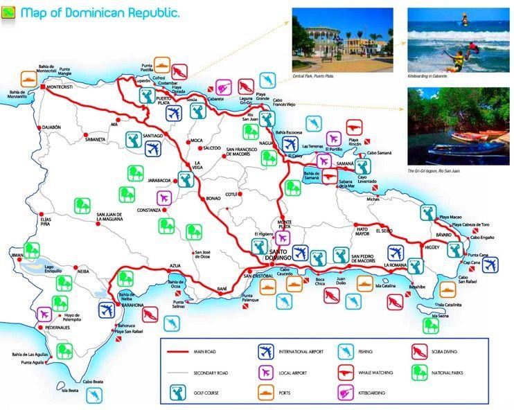 Dominican Republic tourist attractions map Maps Pinterest