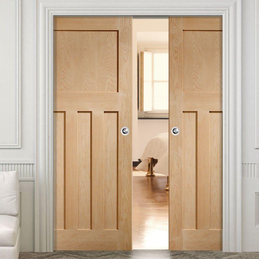 Double Pocket DX 1930u0027S Oak Panel Door Prefinished. #periodpocketdoors #oakpocketdoors #panelledpocketdoors & Double Pocket DX 1930u0027S Oak Panel Door Prefinished   Doors Pocket ...