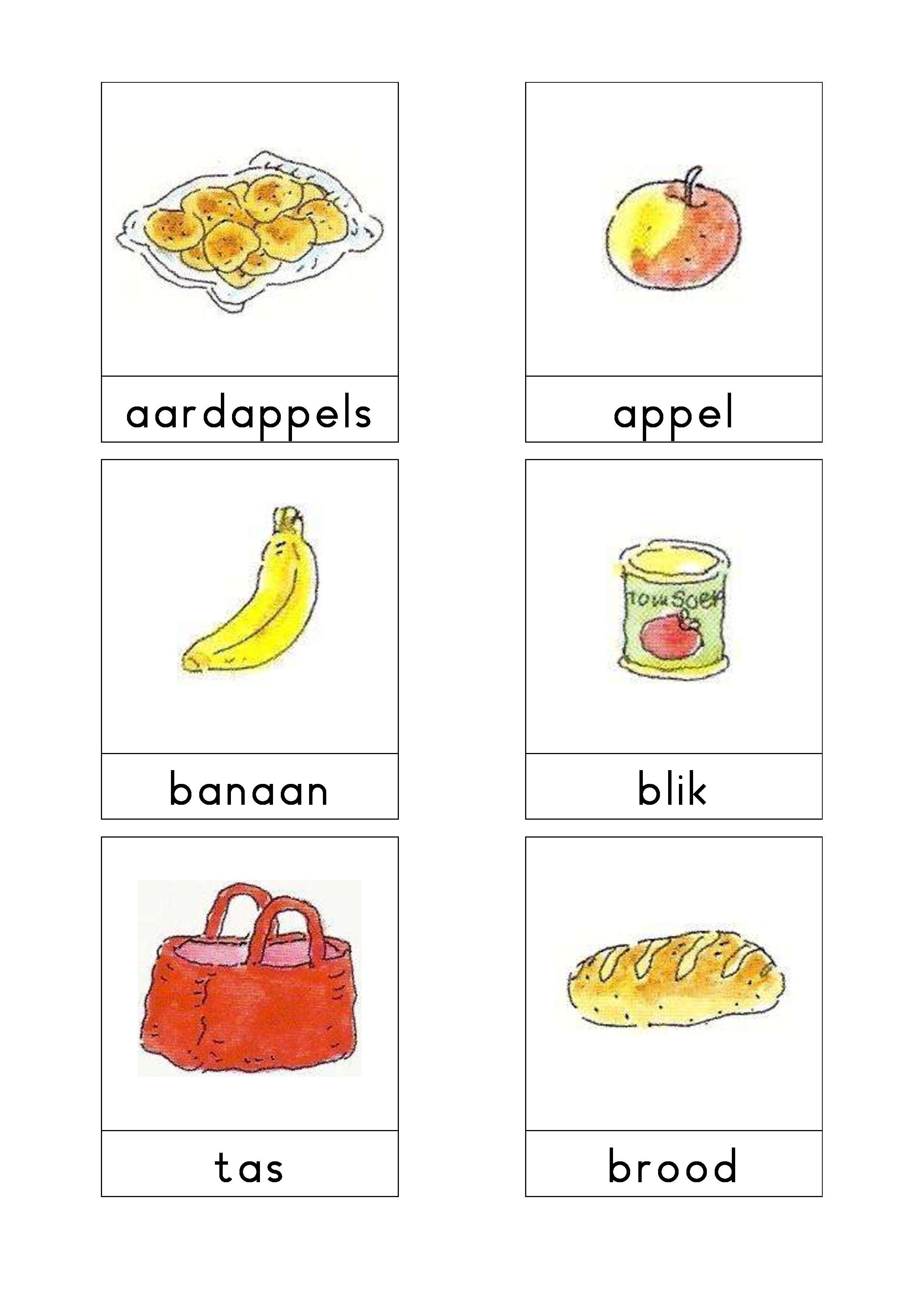 woordkaarten bas de supermarkt 1 thema eten en