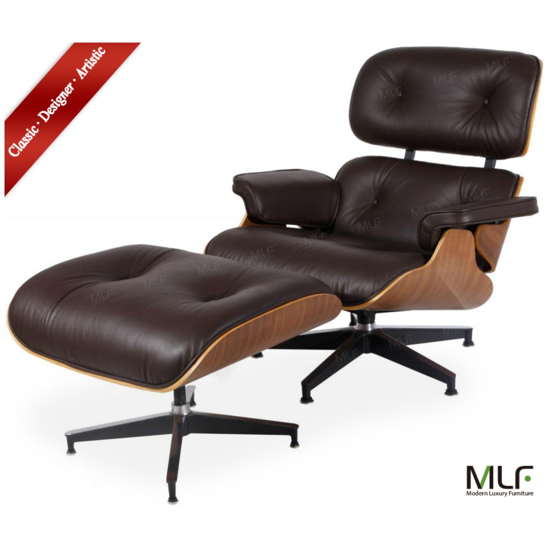 Bon MLF 100% Reproduction Of Eames Lounge Chair U0026 Ottoman, Aniline  Leather+Walnut Laminated
