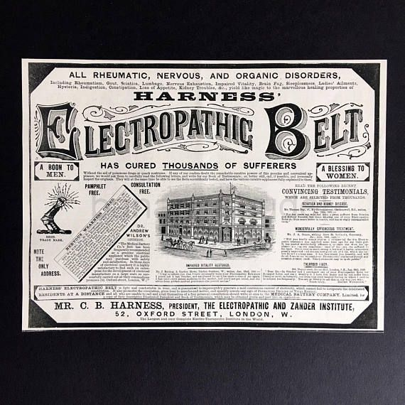 fe91d23bfbb60 1891 Rare Antique Advertisement for the Electropathic Belt - Harness ...
