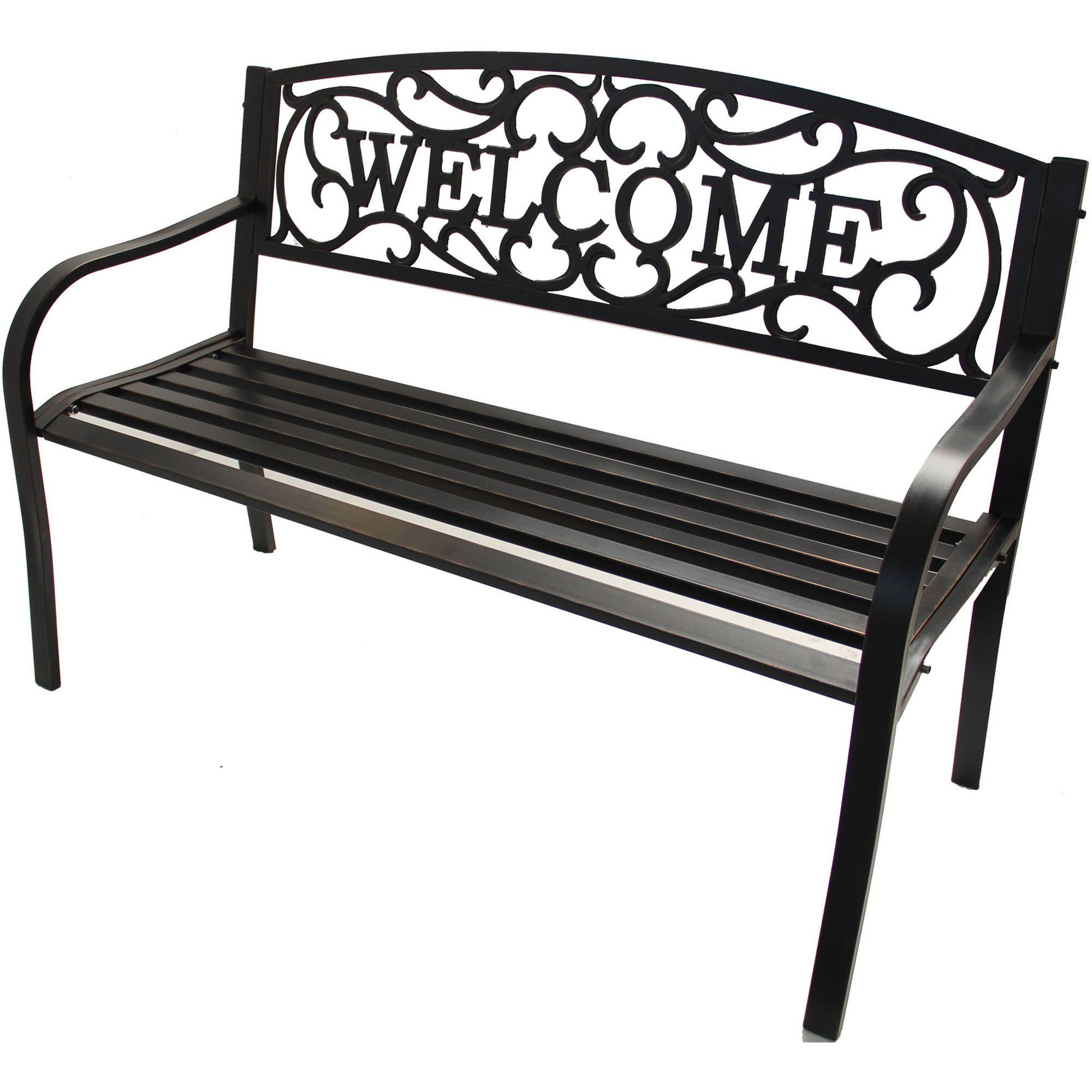 Better Homes Gardens Welcome Outdoor Bench Walmart Com In 2020 Metal Garden Benches Outdoor Bench Outdoor Garden Furniture