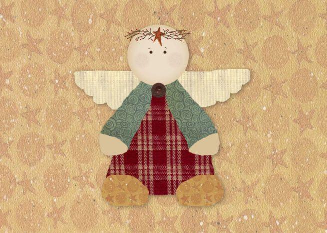 Country Angel Christmas card ,