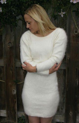 e965648ca9 Lovely White Fluffy Angora Sweater Dress Soft S M 34 WOW! £49.99 ...