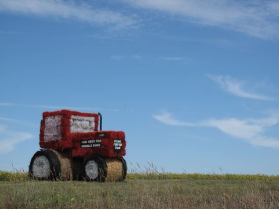 tractor made from hay bales near Marysville