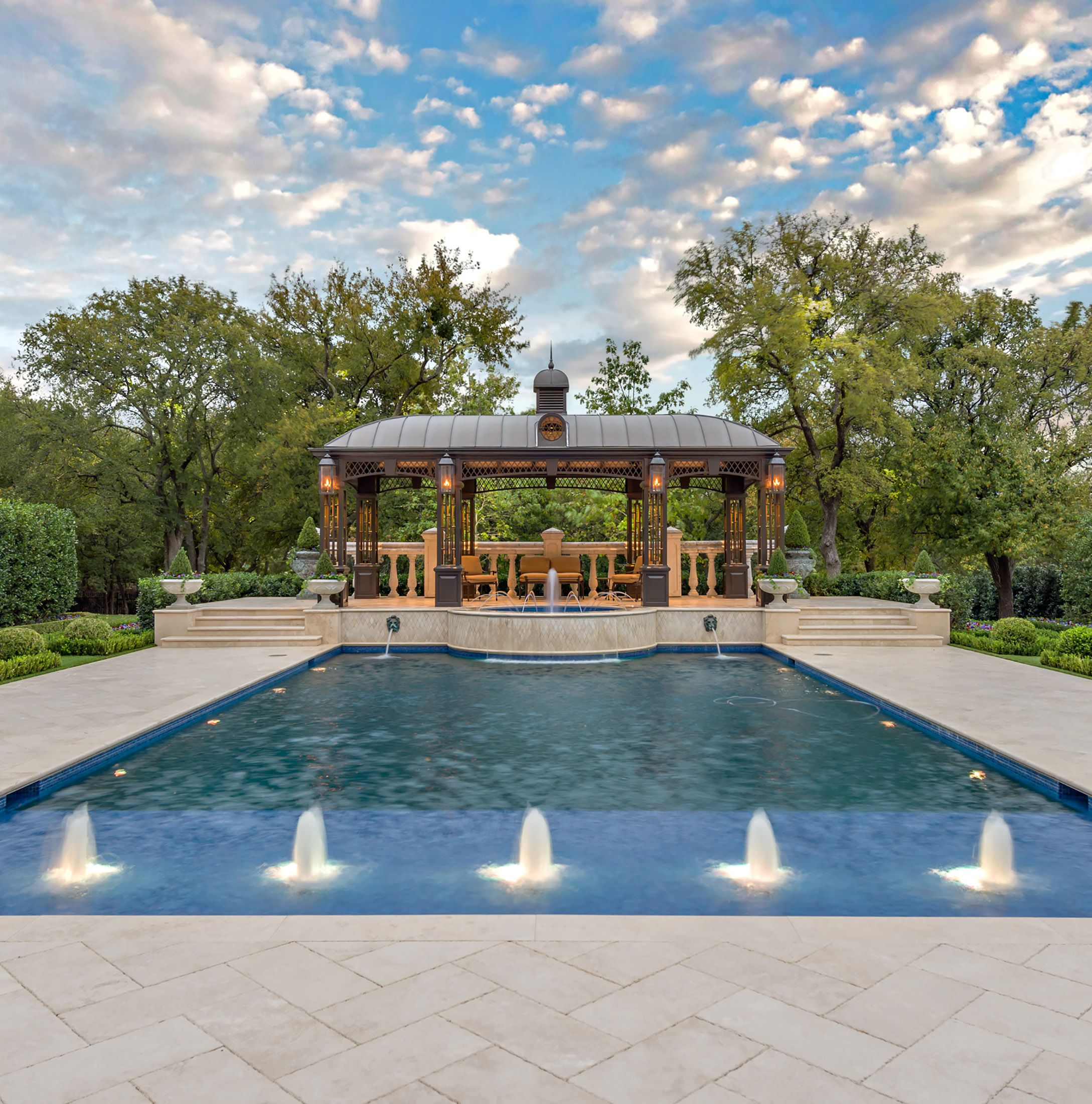 Traditional Garden With Pool: Custom Iron Pool Loggia