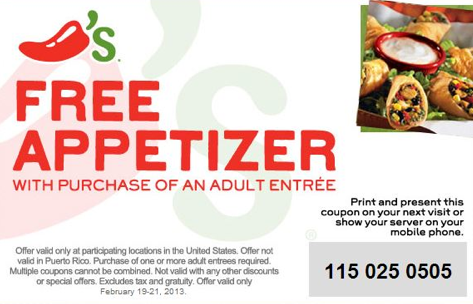 Chili S Free Appetizer Printable Coupon Free Appetizer Printable Coupons Coupons
