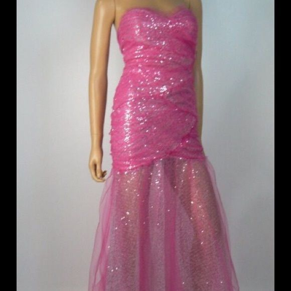 6278c8716 Roberta Tulle Silver Sequins Mermaid Dress Roberta Pink tulle silver  sequins ruched mermaid dress. Great for Prom or Homecoming Junior NWT size 7 /8 waist 26 ...
