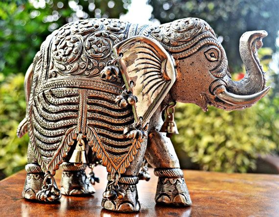 Wedding Statue Gifts: Silver Finished Elephant Figurine, Intricately Hand Carved