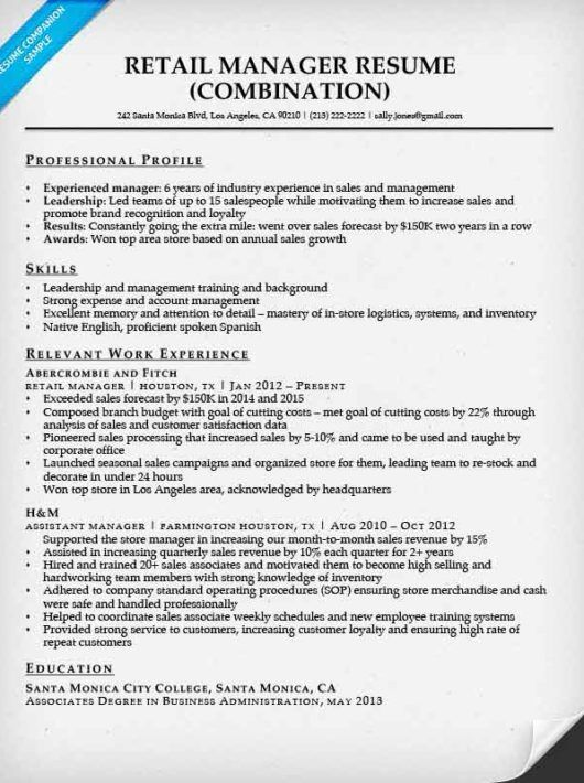 retail manager resume sample amp writing tips companion associate - sale associate resume