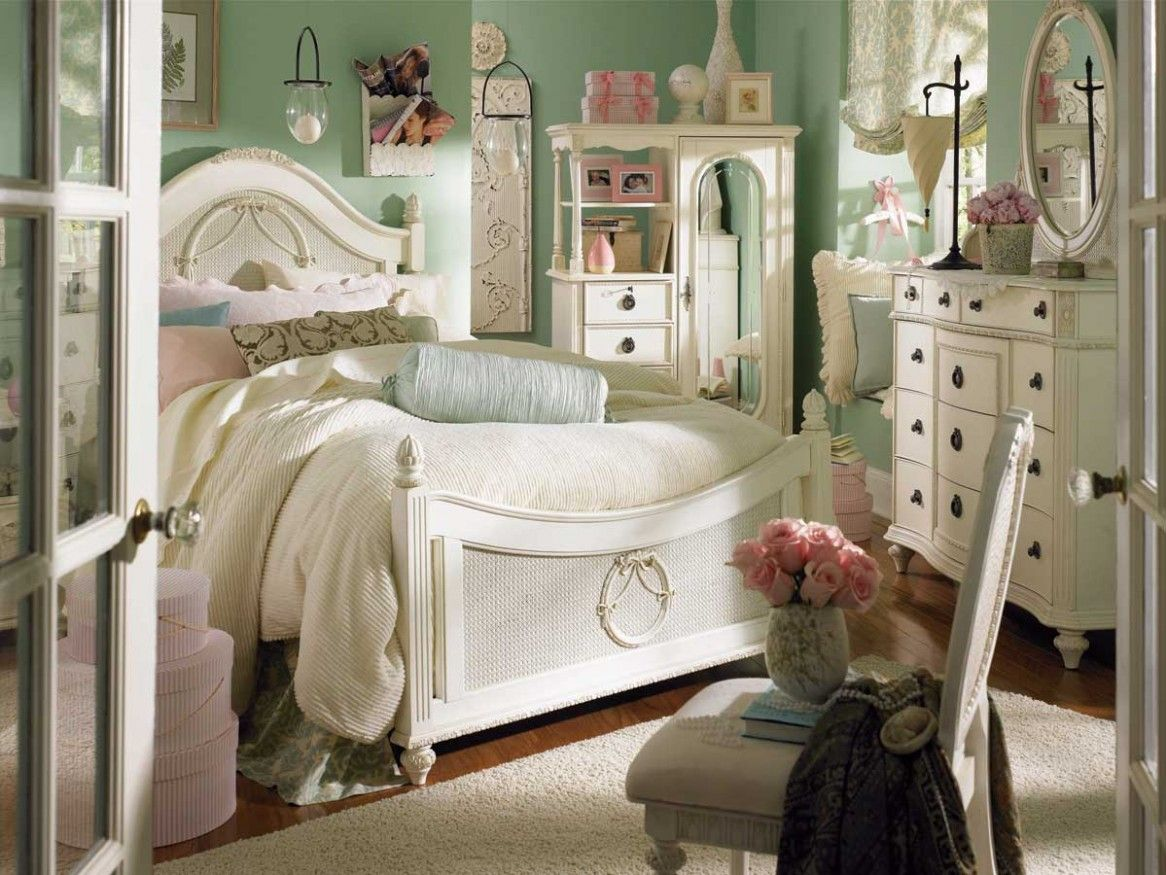 Bedrooms for girls green - Kids Bedroom Kids Bedroom Sea Green Painted Walls Teenage Girls Bedroom With White Vintage Furniture Lovely
