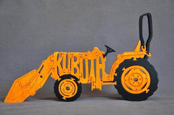 Cabover Farm Tractor Orange Case Kubota Wood Toy Puzzle Scroll Saw