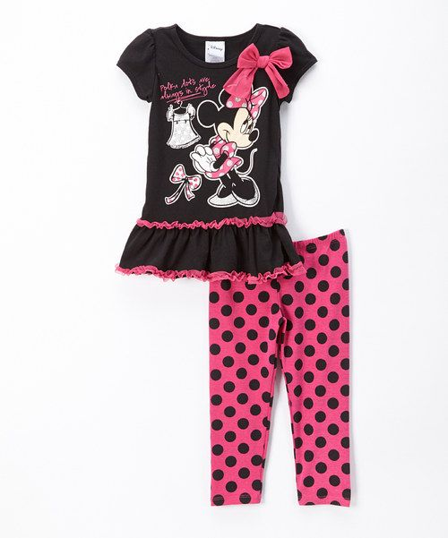 7aa3d5a5fd866 Look at this Minnie Mouse Black & Pink Minnie Tutu Tee & Leggings - Infant  on #zulily today!