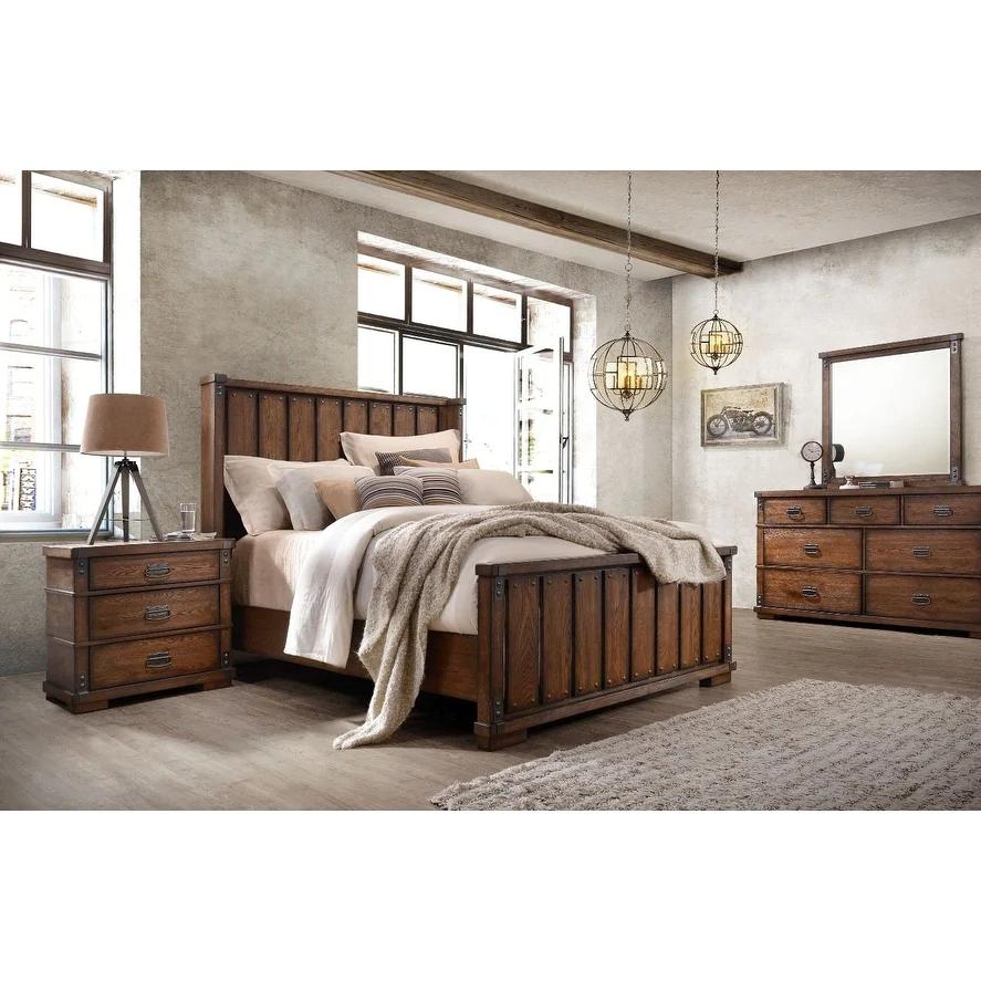 Abbyson Kingsley Vintage Oak Wood 5 Piece Bedroom Set 5