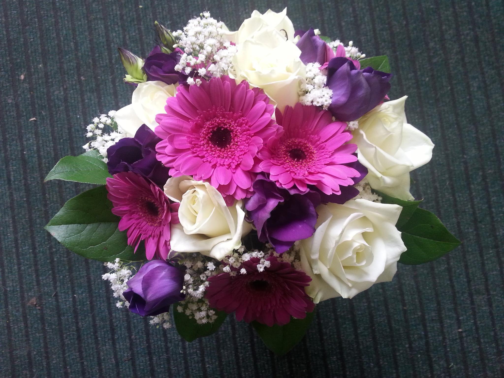 Mixed Bouquet Including Purple Lisianthus Gerberas Gypsophila And