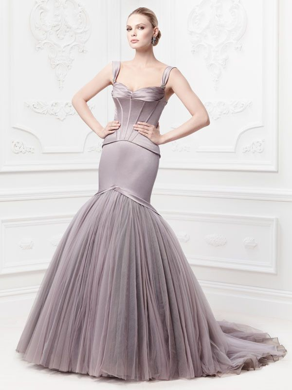 75af10dae77 Brand new collection by Truly Zac Posen I Style  ZP345044 features satin  fit   flare gown with corset seaming in Portobello I  David s Bridal