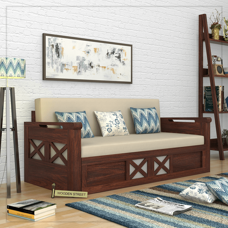 Buy Medway Convertible Couch King Size Walnut Finish Online In India Wooden Street Wooden Sofa Designs Sofa Cumbed Design Wooden Sofa Set Designs