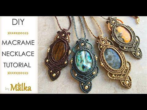 Stone Macrame Necklace 🖤 Beautiful Macrame Necklace Tutorial 🖤 DIY Macrame Jewelry - YouTube