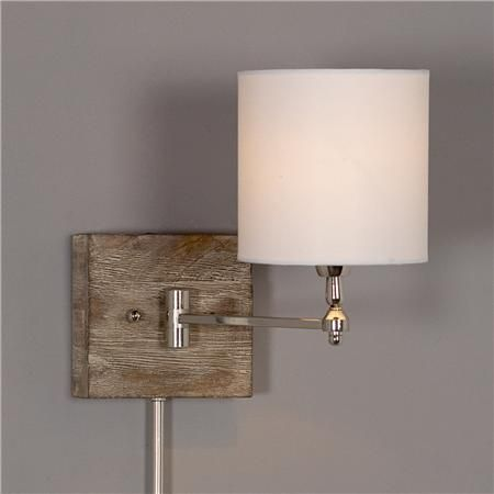 Reclaimed Wood Swing Arm Wall Lamp