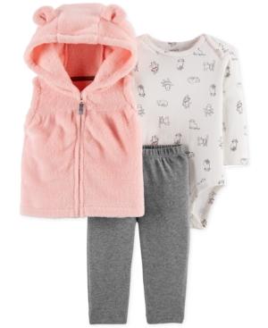 88d862d98 Carter's Baby Girls 3-Pc. Hooded Vest, Printed Bodysuit & Leggings Set -  Pink 12 months