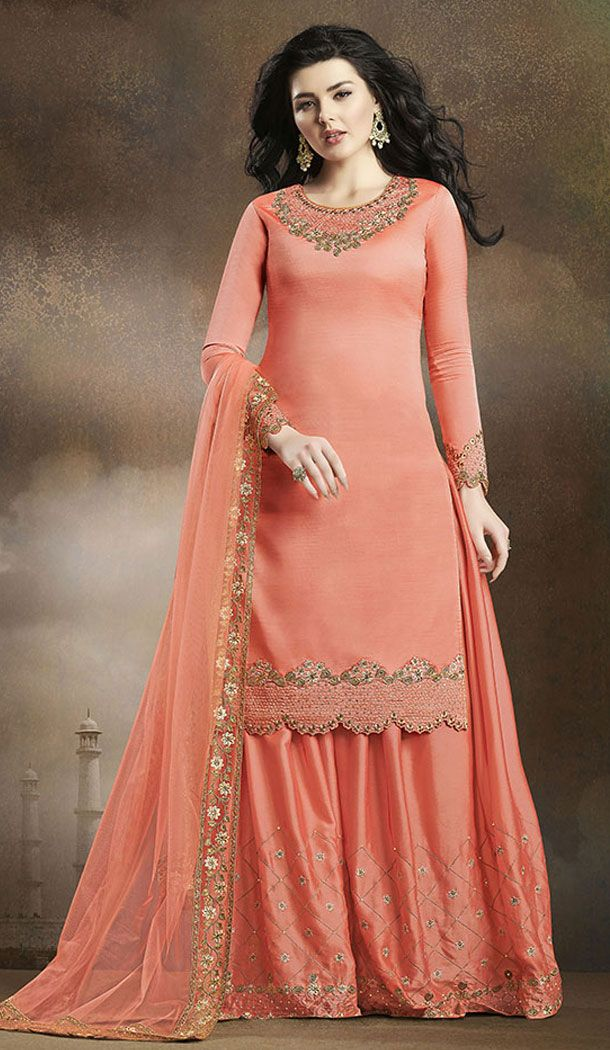 Dark Peach Color Soft Silk Pakistani Eid Special Palazzo