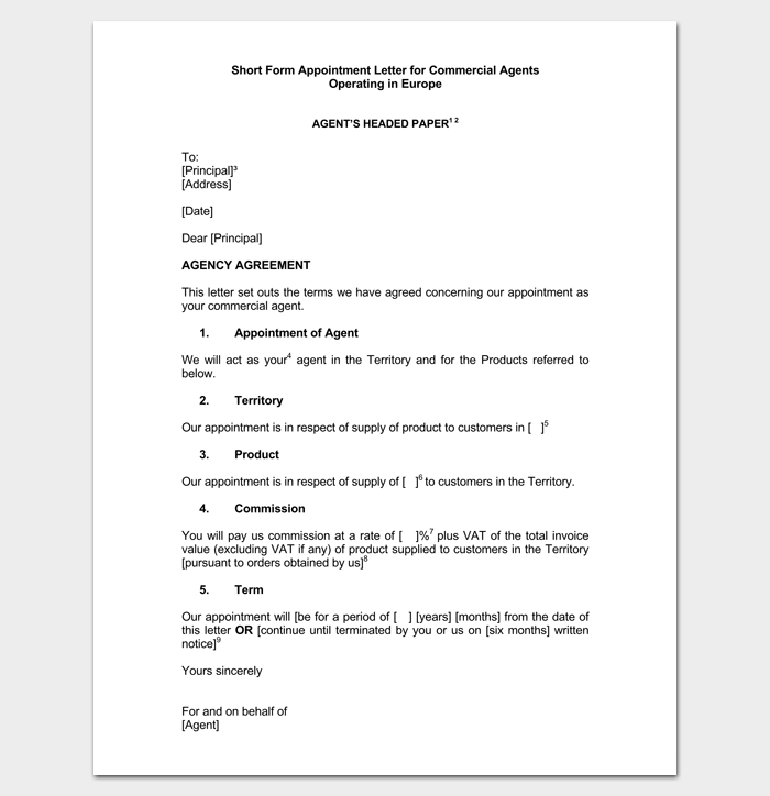 appointment letter for commercial agent template letter