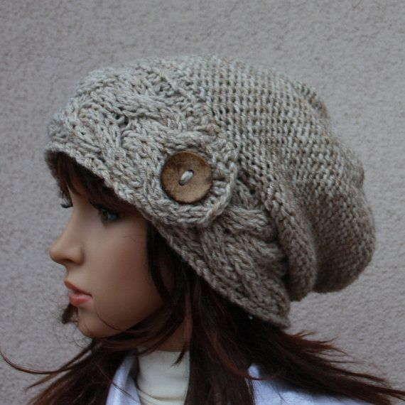 9688e572169dd Hand Knit Hat Womens Hat The Slouch Hat in Wheat by WoolyThinker