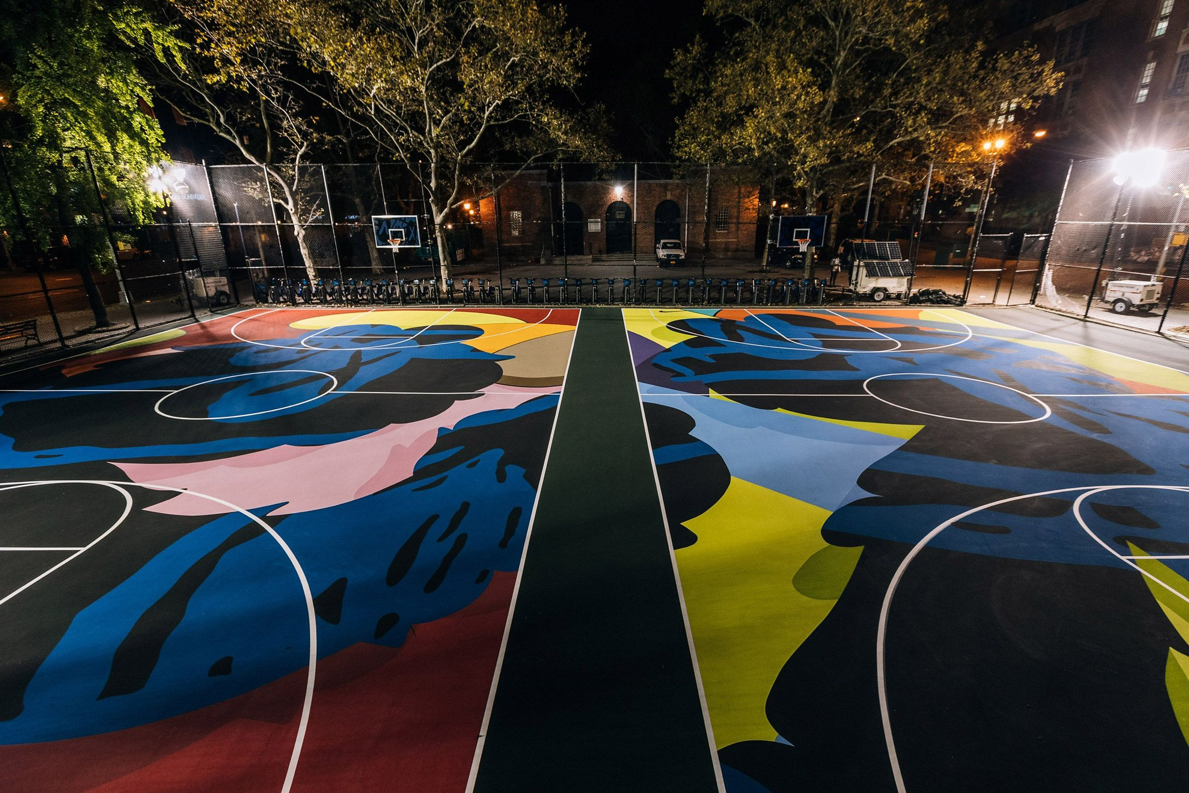 Nike Has Enlisted Brooklyn Based Artist Kaws To Paint His Signature Motifs Across Two Basketball Courts New York Basketball Installation Art Street Basketball