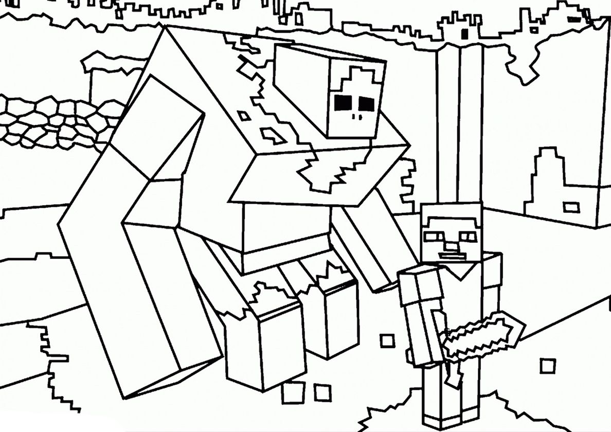 Steve And Huge Golem High Quality Free Coloring From The Category Minecraft More Printa Minecraft Coloring Pages Lego Coloring Pages Monster Coloring Pages