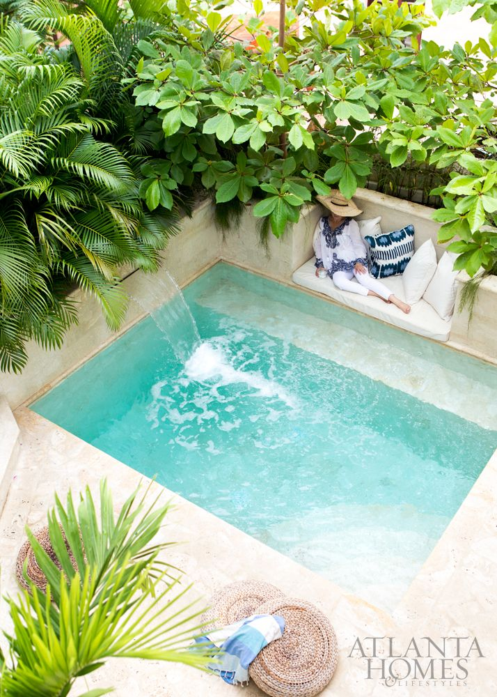 Interior Designer Beth Webb Indulges In Respite On The Plunge Pool Sun Shelf Where A Sunbrella Cushion A Backyard Pool Designs Small Pool Design Backyard Pool