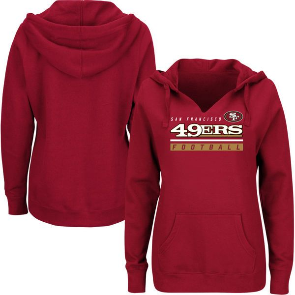 San Francisco 49ers Majestic Women's Plus Size Self Determination Pullover  Hoodie - Red - $55.99