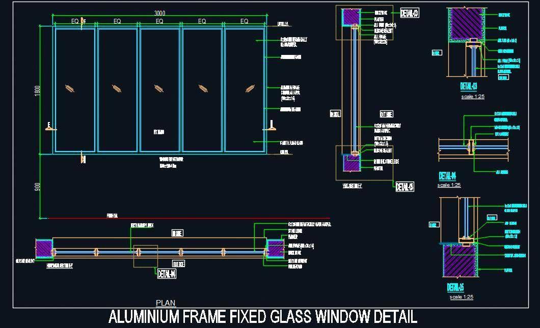 Autocad Drawing Of Aluminium Frame Fixed Glass Window Of