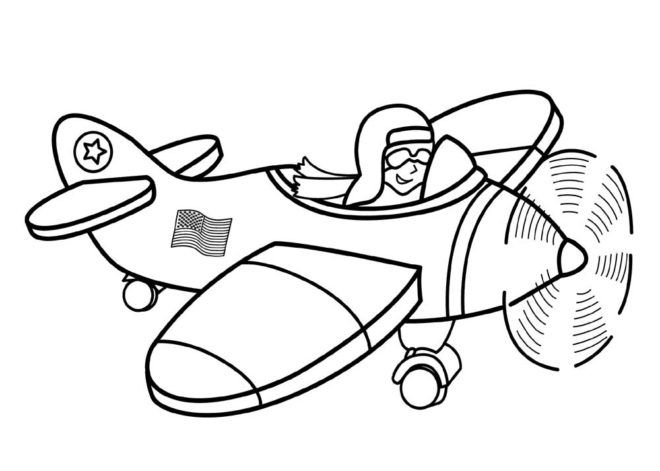 Airplane Transportation Coloring Pages With Pilot For Kids Printable Free