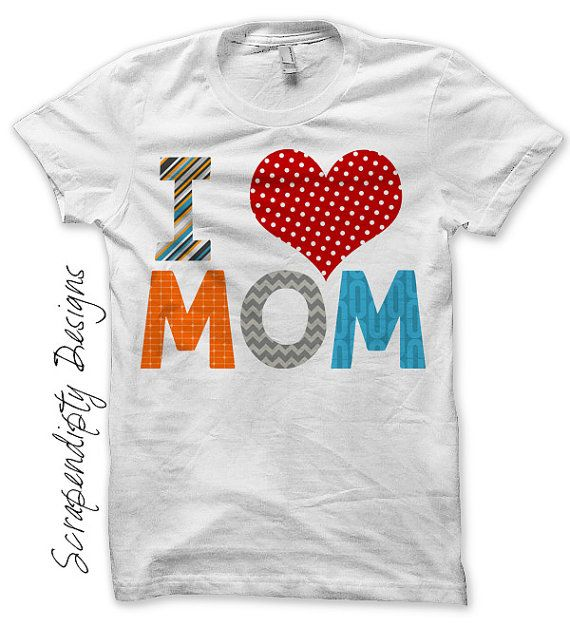 Iron on Mothers Day Shirt, I Love Mom Iron on Transfer ...