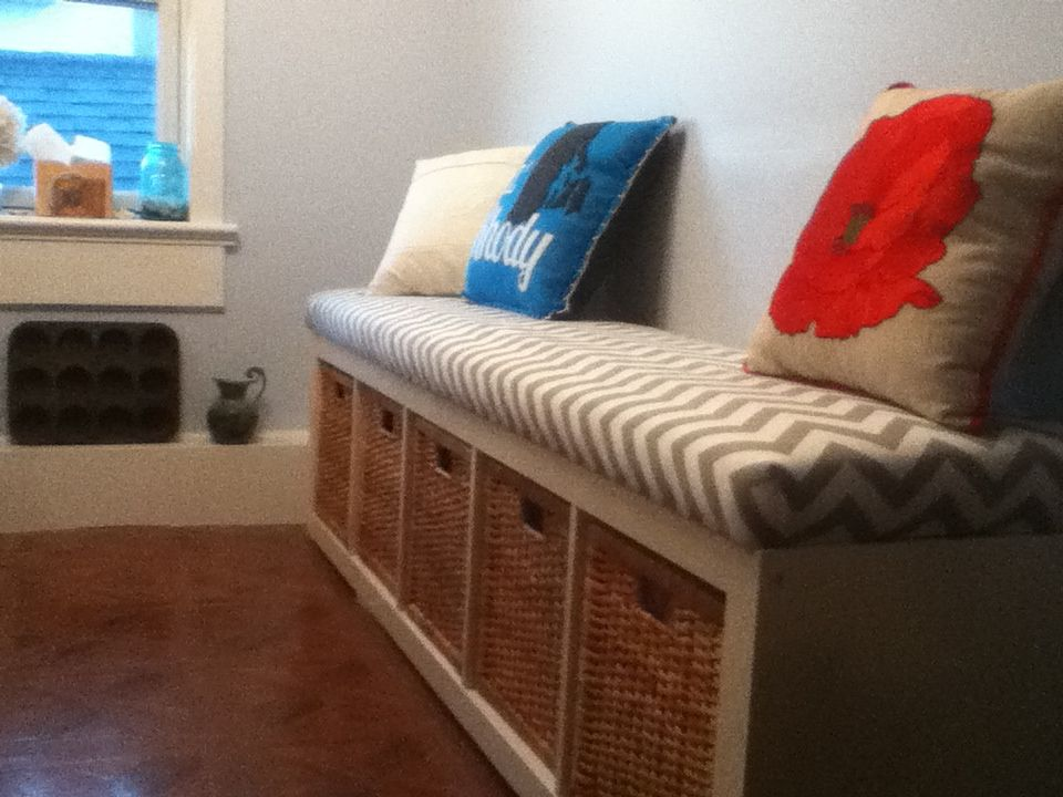 Ikea Bookshelf Basket Bench With A Homemade Cushion Covered Grey Chevron Fabric From Esty