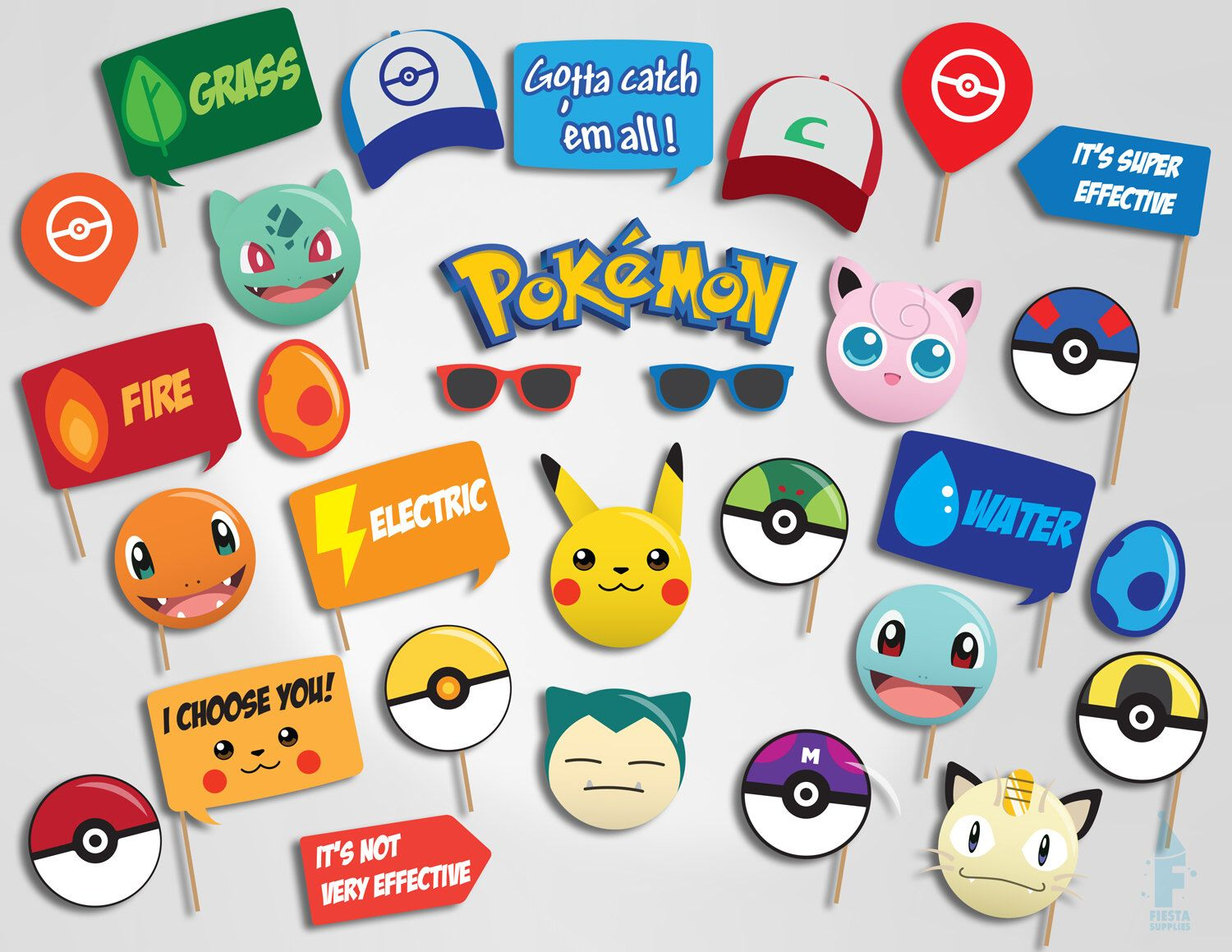 printable pokemon photo booth props pokemon photobooth props pokemon go printable props pokemon - Free Printable Pokemon Pictures