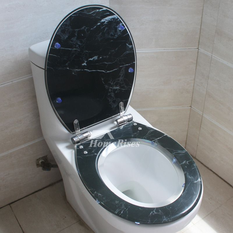 Black Marble Resin Toilet Seat Slow Close Oval Decorative