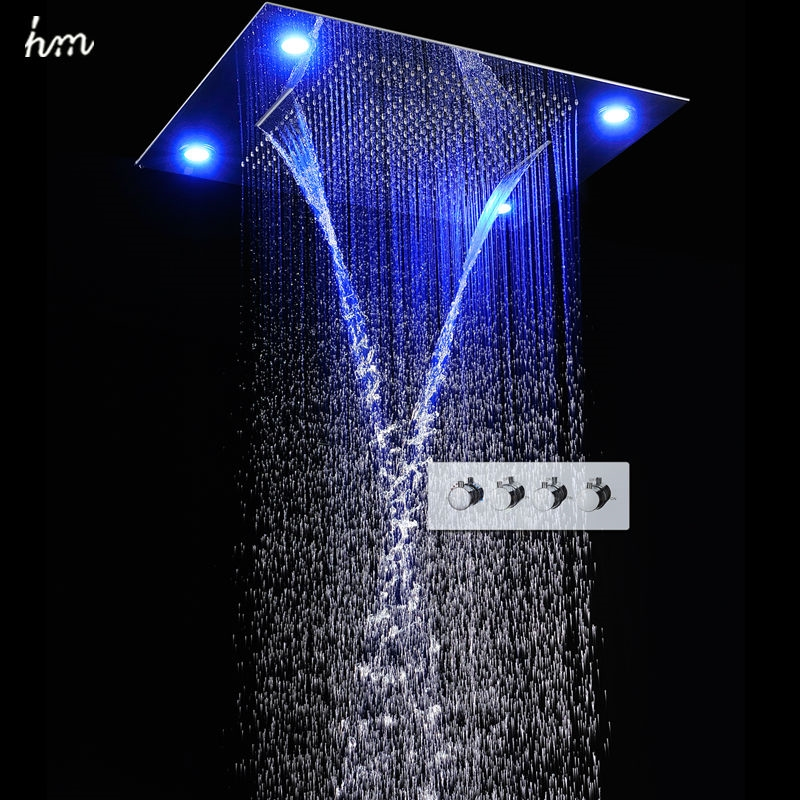 998.00$  Watch here - http://alipcr.worldwells.pw/go.php?t=32700258676 - hm Large Rain Shower Set Waterfall Remote Control LED Recessed Ceiling Mount Multifunction Shower Head Bath & Shower Faucets