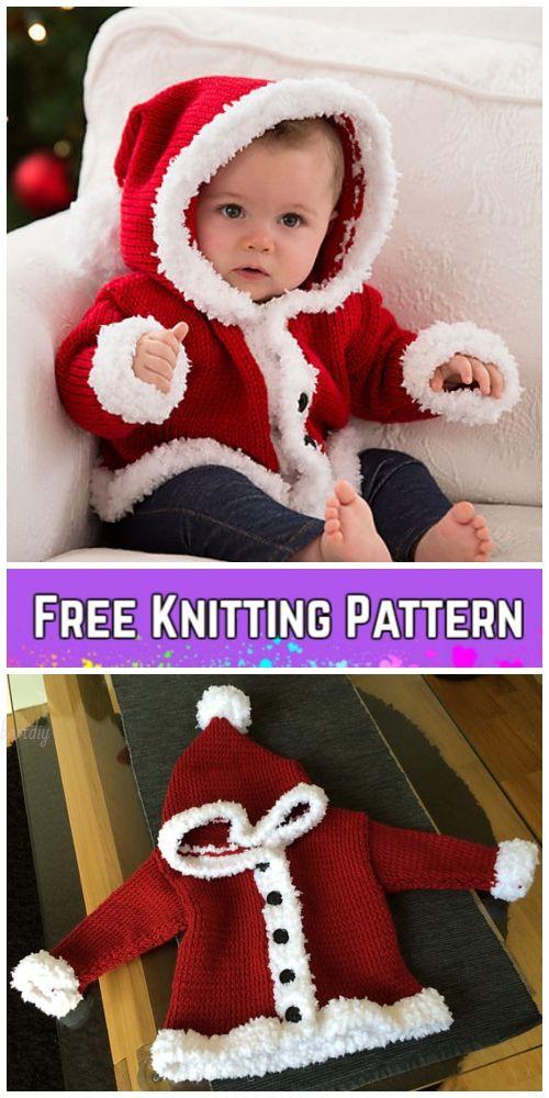 Knit Baby Santa Sweater Cardigan Free Knitting Patterns #babyknittingpatterns