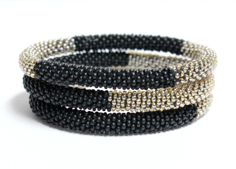 Beaded Nepal Roll On Bracelet Set Monochrome Gl Seed Bead Bangles Crochet Beadwork Bohemian Ethnic Stacking Layering By