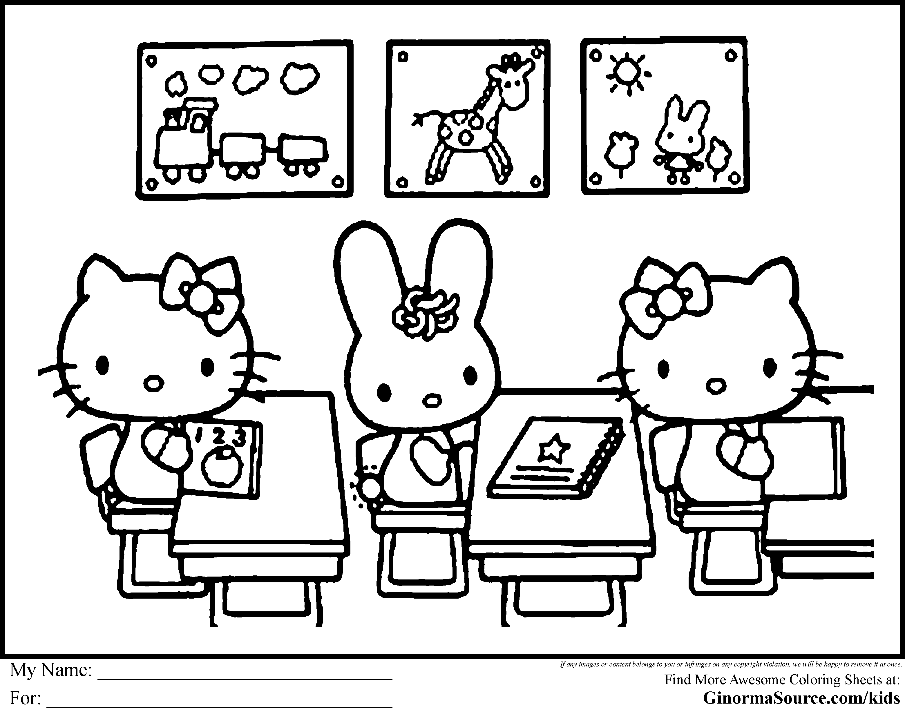 Hello kitty coloring book pages to print - Hello Kitty Coloring Pages Coloring Pages Hello Kitty One Hundred Days Ginormasource Kids