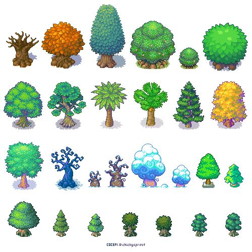 Trees trees trees! (With images) | Pixel art design, Pixel art ...